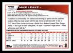 2013 Topps #442  Mike Leake  Back Thumbnail