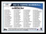 2013 Topps #448  Tim Hudson  Back Thumbnail