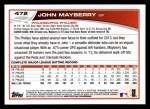 2013 Topps #472  John Mayberry  Back Thumbnail