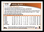 2013 Topps #476  John Buck  Back Thumbnail