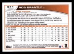 2013 Topps #511  Rob Brantly  Back Thumbnail