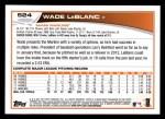 2013 Topps #524  Wade LeBlanc  Back Thumbnail