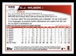 2013 Topps #566  C.J. Wilson  Back Thumbnail
