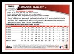 2013 Topps #585  Homer Bailey  Back Thumbnail