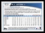 2013 Topps #614  B.J. Upton  Back Thumbnail