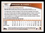 2013 Topps #651  Gregor Blanco  Back Thumbnail