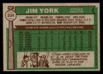 1976 Topps #224  Jim York  Back Thumbnail