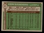 1976 Topps #291  Ken Sanders  Back Thumbnail