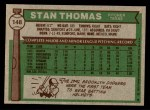 1976 Topps #148  Stan Thomas  Back Thumbnail