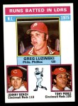 1976 Topps #195   -  Greg Luzinski / Johnny Bench / Tony Perez NL RBI Leaders Front Thumbnail
