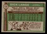 1976 Topps #176  Dick Lange  Back Thumbnail
