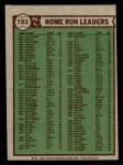 1976 Topps #193   -  Mike Schmidt / Dave Kingman / Greg Luzinski NL HR Leaders   Back Thumbnail