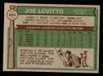 1976 Topps #604  Joe Lovitto  Back Thumbnail