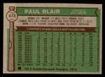 1976 Topps #473  Paul Blair  Back Thumbnail