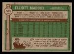1976 Topps #503  Elliott Maddox  Back Thumbnail