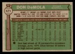 1976 Topps #571  Don DeMola  Back Thumbnail