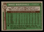 1976 Topps #465  Mike Marshall  Back Thumbnail