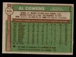 1976 Topps #648  Al Cowens  Back Thumbnail