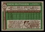 1976 Topps #431  Dick Ruthven  Back Thumbnail