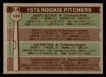 1976 Topps #589   -  Santo Alcala / Mike Flanagan / Joe Pactwa / Pablo Torrealba Rookie Pitchers   Back Thumbnail