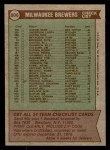 1976 Topps #606   -  Alex Grammas Brewers Team Checklist Back Thumbnail