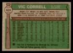 1976 Topps #608  Vic Correll  Back Thumbnail