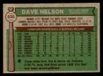 1976 Topps #535  Dave Nelson  Back Thumbnail