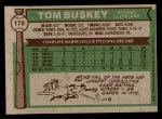 1976 Topps #178  Tom Buskey  Back Thumbnail