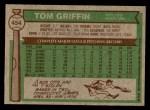 1976 Topps #454  Tom Griffin  Back Thumbnail