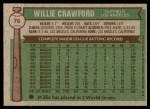 1976 Topps #76  Willie Crawford  Back Thumbnail