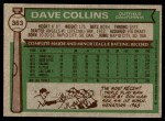 1976 Topps #363  Dave Collins  Back Thumbnail