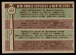 1976 Topps #594   -  Andy Merchant / Ed Ott / Royle Stillman / Jerry White Rookie Catchers and Outfielders   Back Thumbnail