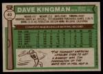 1976 Topps #40  Dave Kingman  Back Thumbnail