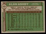 1976 Topps #209  Alan Ashby  Back Thumbnail
