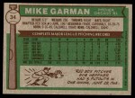 1976 Topps #34  Mike Garman  Back Thumbnail