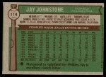 1976 Topps #114  Jay Johnstone  Back Thumbnail