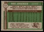 1976 Topps #117  Mike Jorgensen  Back Thumbnail