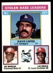 1976 Topps #197   -  Dave Lopes / Joe Morgan / Lou Brock NL SB Leaders   Front Thumbnail