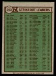 1976 Topps #203   -  Tom Seaver / Andy Messersmith / John Montefusco NL Strikeout Leaders Back Thumbnail
