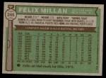 1976 Topps #245  Felix Millan  Back Thumbnail