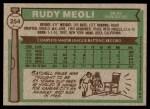 1976 Topps #254  Rudy Meoli  Back Thumbnail