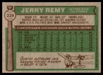 1976 Topps #229  Jerry Remy  Back Thumbnail
