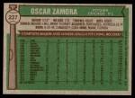 1976 Topps #227  Oscar Zamora  Back Thumbnail