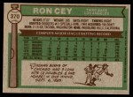 1976 Topps #370  Ron Cey  Back Thumbnail
