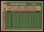 1976 Topps #55  Gaylord Perry  Back Thumbnail