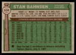 1976 Topps #534  Stan Bahnsen  Back Thumbnail