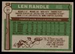 1976 Topps #31  Len Randle  Back Thumbnail