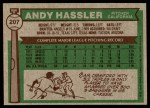 1976 Topps #207  Andy Hassler  Back Thumbnail