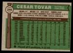 1976 Topps #246  Cesar Tovar  Back Thumbnail