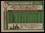 1976 Topps #74  Oscar Gamble  Back Thumbnail